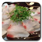 Shiso leaf on sashimi