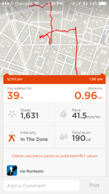 Runtastic data integrated in UP3-app