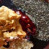 peanut butter, honey, oat and chia seeds